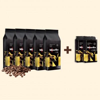 Набір Кави NERO ТМ Minelly 5кг в зернах і 500г меленої   Акція 5+2